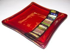 cherry red fused glass sushi plate