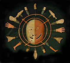 Mask  Wood, sinew, cormorant feathers, pigment  Nunivak Island ca. 1950s  Maker: possibly Mellaar (Leonard Mathlaw) or Harrison  UAF Museum accession # UA69-080-0016AQ
