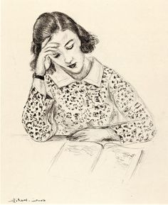 La Liseuse (Woman Reading) - by Henri Matisse (huariqueje) Henri Matisse, Matisse Drawing, Matisse Art, Marcel Duchamp, Pablo Picasso, Illustrations, Illustration Art, Woman Reading, Reading Art