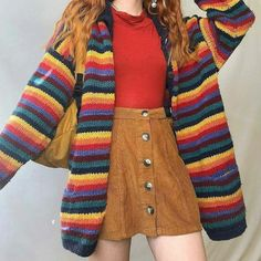 Casual Everyday Color Matching Knitted Sweater Informations About Casual Everyday Color Matching Knitted Sweater Pin You can … Indie Outfits, Retro Outfits, Cute Casual Outfits, Vintage Outfits, Girl Outfits, Vegas Outfits, Party Outfits, Club Outfits, Stylish Outfits
