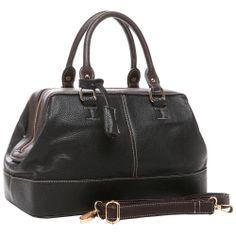 black-brown doctor style bag - LOVE IT Brown Trim, Black And Brown, Clearance Handbags, Designer Leather Handbags, Fashion Bags, Womens Fashion, Fashion Gallery, Satchel Handbags, Purses And Bags