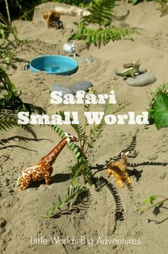 Safari Small World Play | Popular sensory small world play idea for toddlers and preschoolers, who will love getting their hands dirty in the sandpit during their outdoor play session! | Little Worlds Big Adventures