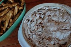 s'mores DIP (made this yesterday! justin, landon, & i LOVE it! i got honey graham crackers instead of the pretzel sticks, but its so yummy i was eating it by the spoonful! Raw Food Recipes, Sweet Recipes, Snack Recipes, Dessert Recipes, Snacks, Party Recipes, Yummy Recipes, Copycat Recipes, Dinner Recipes