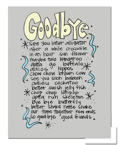 Take a look at this 'Goodbye' Print by Doodle Art Prints by Doodli-Do's on #zulily today!