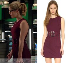 Felicity Smoak (Emily Bett Rickards) wears this burgundy belted dress in this week's episode of Arrow. It is the Milly Belted Mini [...]