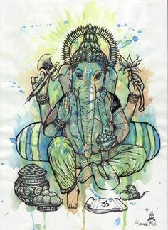 Ganesha is Lord of new beginnings in that he clears paths. Ganesha consciousness binds all fragmentations.he binds people & beings to. Ganesha Tattoo, Ganesha Art, Lord Ganesha, Peace Sign Tattoos, Ganesha Painting, Indian Art Paintings, Tattoos With Meaning, Gods And Goddesses, Deities