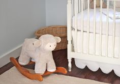 Emma's Nursery My vision for our daughter's nursery was a soft, cuddly and cozy room filled with an eclectic mix of items - old and new, . Clouds Nursery, Nursery Crib, Wall Carpet, Bedroom Carpet, Modern Carpet, Grey Carpet, Sheep Mobile, Home Depot Carpet, Flooring Near Me
