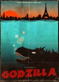 Paris attacked by Godzilla #posters