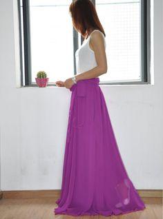 High Waist Maxi Skirt Chiffon Silk Skirts Beautiful Bow Tie Purple Elastic Waist Summer Skirt Floor Length Long Skirt(037)