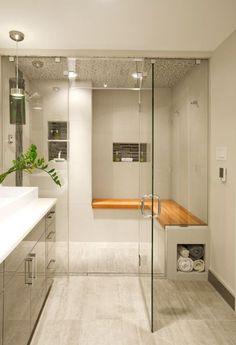 25 frische Dampfdusche Badezimmer Designs Trends - '' Banyo ve Tuvalet - Bathroom & Toilet - Cuarto de baño y WC - バスルーム&トイレ '' - Shower Seat, House Bathroom, Shower Alcove, Shower Bench, Bathroom Design Trends, Contemporary Steam Showers, Modern Bathroom, Contemporary Bathroom Designs, Bathrooms Remodel