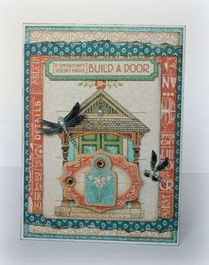 """""""If opportunity doesn't knock, build a door"""" Artisan Style card by Romy. What amazing layers! #graphic45 #cards"""