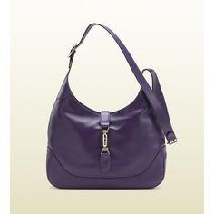 Gucci Jackie Grape Color Leather Shoulder Bag ($1,890) ❤ liked on Polyvore