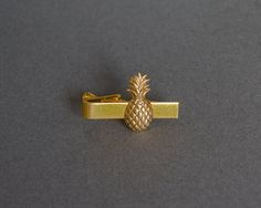 Pineapple Tie Bar Men's Tie Clip Novelty Tie by SkeltonsTreasures