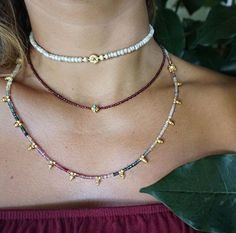 """Turquouse encrusted solid 18k gold bead set with genuine high quality garnet gemstones. Our favourite choker to date! Words cannot describe how beautiful this piece looks on. Length approx 14"""" adjusta"""