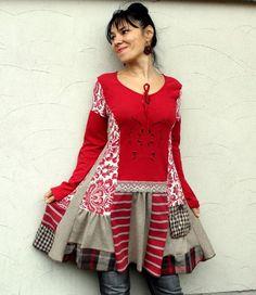 Romantic recycled dress tunic art boho gypsy style: