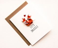 Funny Love you Card - Funny Valentines Day Card - Fox Lets Snuggle Card -Card for Husband - Anniversary Card Boyfriend Card- Card for Wife - by ofthingspretty