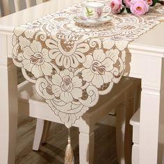 Full-beige minimalist hollow three-dimensional embroidery fabric tassel table runner