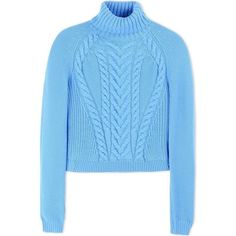 Carven Blue Cable Turtleneck Sweater (1,175 CAD) ❤ liked on Polyvore featuring tops, sweaters, blue, long sleeve sweaters, wool turtleneck, cable knit turtleneck sweater, cable knit sweater and boxy sweater