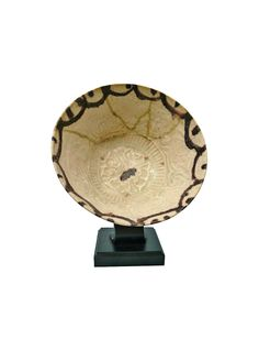 Persian Glazed Ceramic Bowl on Custom Stand