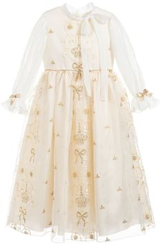 5f02df357b4a Love this Lesy Girls Ivory & Gold Dress. Perfect special occasion dress