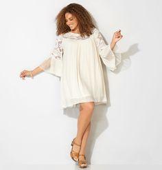 Shop beautiful boho summer dresses like our plus size Crochet Bell Sleeve…