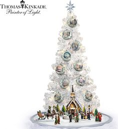 thomas kinkade lighted tabletop musical christmas tree and sculptures collection