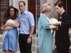Kate Middleton and Princess Diana in their respective polka dot outfits and with their baby princes, outside the Lindo wing