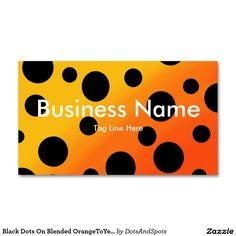 Black Dots On Blended OrangeToYellow Double-Sided Standard Business Cards (Pack Of 100)