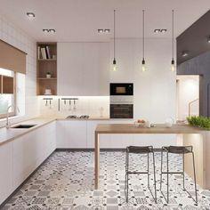 les tendances chez l amenagement cuisine 2017, credence de cuisine table avec chaise de bar, modèles de cuisines modernes