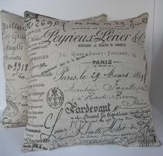"""Two (2) Decorative French Script Pillow Covers - Beige with Chocolate Writing  Made to Fit 18"""" x 18"""" Pillows"""