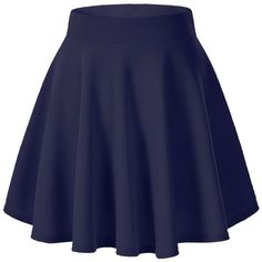 Women's Basic Solid Versatile Stretchy Flared Casual Mini Skater Skirt ($8.55) ❤ liked on Polyvore featuring skirts, mini skirts, circle skirt, mini flare skirt, blue skirt, blue mini skirt and stretch skirt