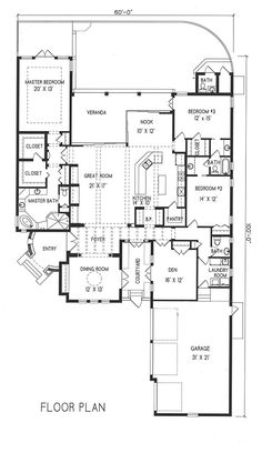 Plan #1-1166. Spanish style home with a living S.F. of 2996 (4151 S.F. Total), 2 full baths and 2 half baths. 1 story home, 60' wide, and 100' deep.
