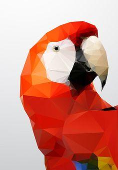 Art - Geometric red parrot