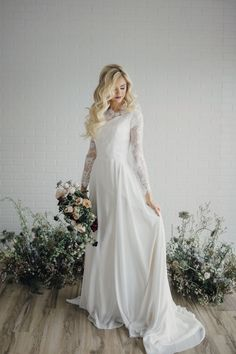Willow gown by Elizabeth Cooper Design   Photo by Cassandra Farley Photography   modest wedding dress   wedding dress with sleeves   aline   sheath   long sleeves   lace wedding dress   wedding gown   lace   modest   wedding dress with long sleeves   chiffon   wedding dress  