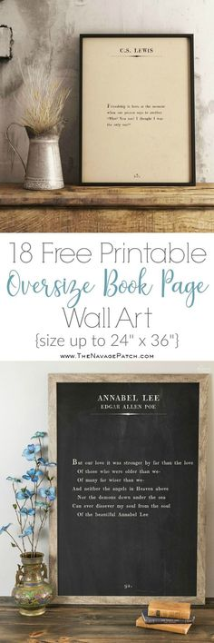 More Oversize Book Page Wall Art {18 Free Printables} | 18 free printable high-resolution book page wall art | Amazing set of free printable book page quotes – Mark Twain, Paulo Coelho, C.S. Lewis, Henry Van Dyke, Edgar Allen Poe, Francis of Assisi | How to make your own oversized farmhouse wall art | Engineering print vs poster print | Step by step tutorial on budget friendly oversized wall art | Free downloadable book page wall art | Easy DIY wall decoration | TheNavagePatch.com