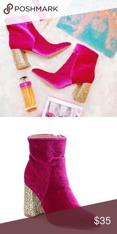 296cee60f90d betsey johnson magenta velvet kacey glitter boots Kacey high heel boots  from Betsey Johnson are the