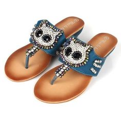 Owl Rhinestone Wedge Sandals - Fonte heyfair.com