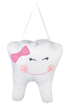"The tooth pillow provides an exciting way for a child to await the tooth fairy! Measuring 6.5"" x 7.5"", this pillow is embroidered with a charming pink bow and includes a special pouch at the top for t"
