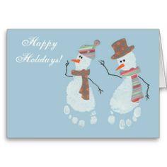 2 Baby Footprint Snowmen - Happy Holidays! Greeting Card