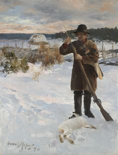 Pheasant Hunter in a Winter Landscape by Bruno Liljefors | Art Posters & Prints