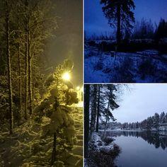 Pimeä laskeutui ja hiipi lenkin aikana maisemaan Siilinjärvellä. Kiva pikku pakkanen juosta. #snow #dark