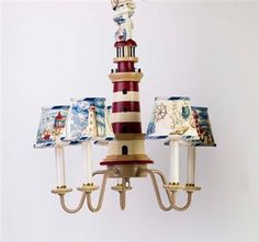 Amazon.com - Yessicas Collection 5690 5 Arm Lighthouse Chandelier and Shades - Red-Tan -