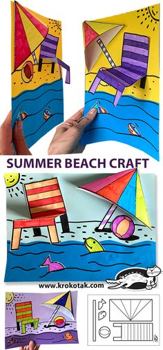 Beach Crafts, Summer Crafts, End Of Year Activities, Children Activities, Diy For Kids, Crafts For Kids, Summer Art Projects, Coloring Pages For Kids, Kids Coloring