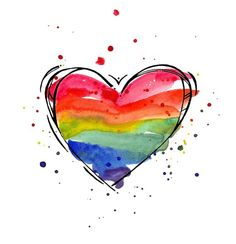 Rainbow Heart watercolor print supporting LGBT by LindsaySatchell Watercolor Heart, Watercolor Cards, Watercolor Print, Watercolor Paintings, Face Paintings, Watercolor Tattoos, Watercolours, Rainbow Painting, Heart Painting