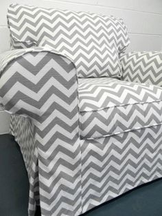 Custom IKEA Ektorp Armchair slipcover in Gray Chevron.