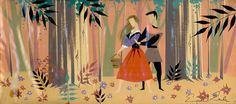 Eyvind Earle Sleeping Beauty Concept Art Briar Rose and Philip in the forest