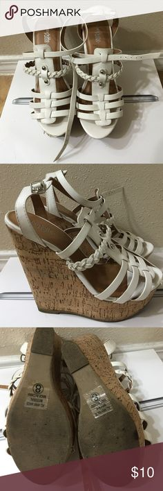 Charlotte Russe white wedges Cute summery wedges, white, worn less than handful of times. Good condition aside from scuff shown in 4th picture, white out can help with that ;). Make me an offer! Moving and need to sell by end of September! Charlotte Russe Shoes Wedges