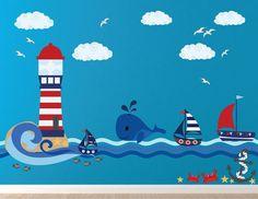 Ocean Nursery, Nursery Decals, Decoration Creche, Art Pariétal, Wall Murals, Wall Art, Sea Murals, Murals For Kids, Sailboat