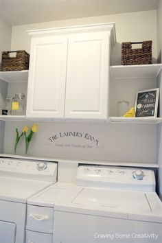 Farmhouse-Laundry-Room-Grey-and-Yellow Laundry Room Storage, Storage Room, Storage Shelves, Storage Ideas, Pantry, Storage Shelving, Laundry Storage, Organization Ideas, Organizing Ideas