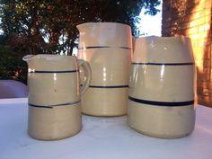 3 Vtg Stoneware Dbl (2) Blue Stripes Glaze Clay Pottery Pitchers Antique Vintage  | eBay